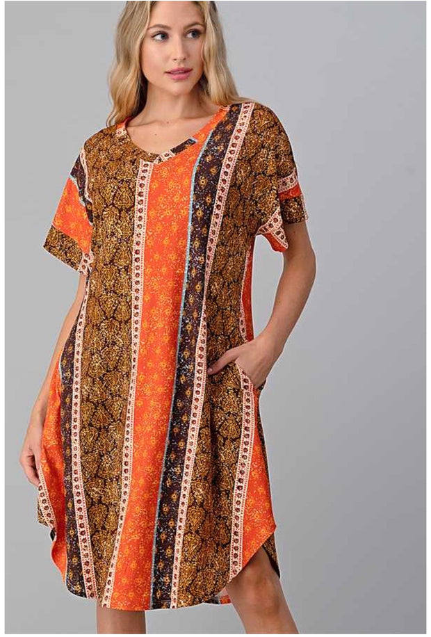 PSS-C {Desert Vibes} SALE!! Orange, Brown Multi Print V-Neck Dress PLUS SIZE 1X 2X 3X