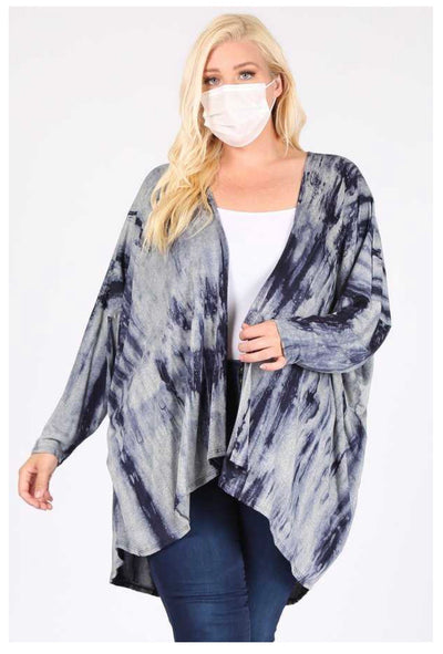 OT-B {Full Of Ambition} Navy Grey Bamboo Tie Dye Cardigan EXTENDED PLUS SIZE 3X 4X 5X