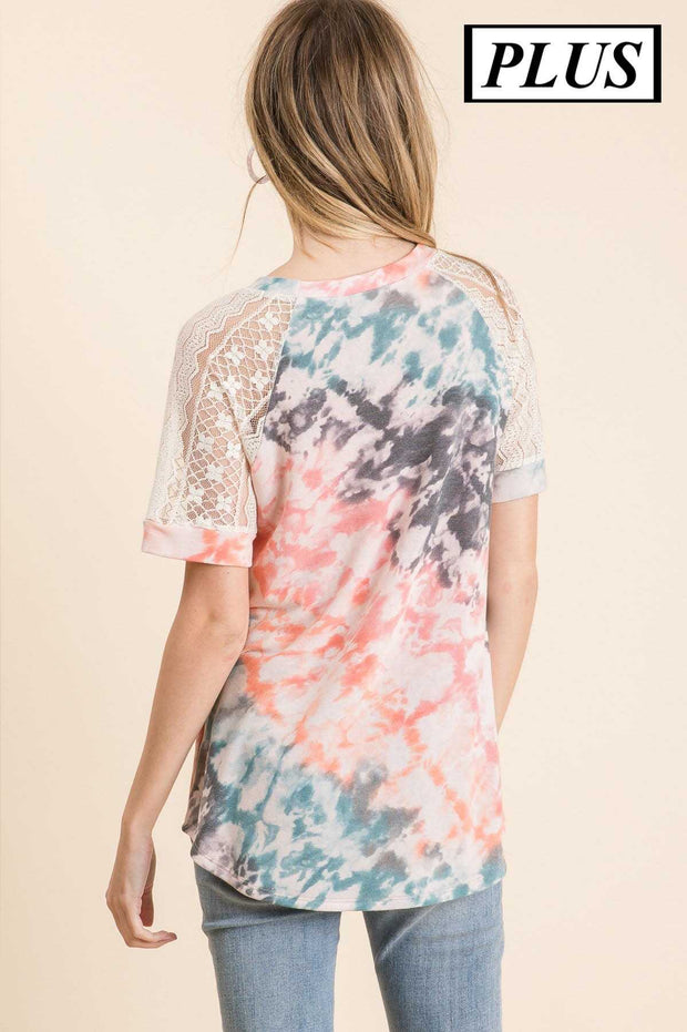 CP-X {Journey To The Unknown} Coral Tie Dye Tunic Lace Sleeve PLUS SIZE 1X 2X 3X SALE!!
