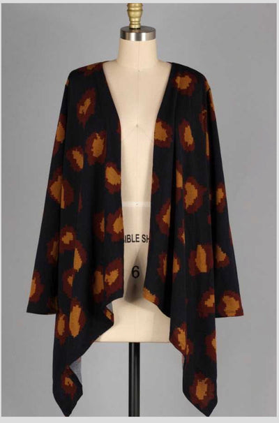 10-05 OT-A {Far From Over} Navy Camel Printed Cardigan PLUS SIZE XL 2X 3X