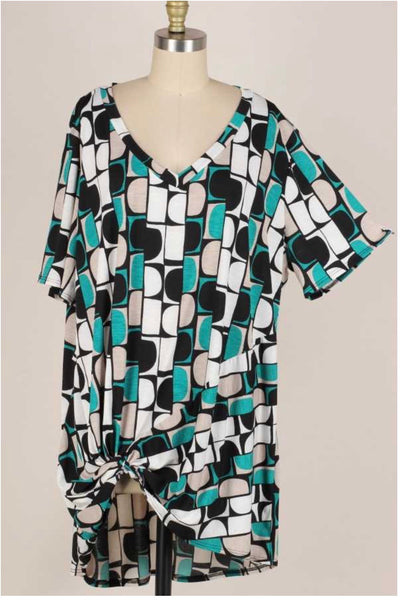 61 PSS-F {Watch And Learn} Multi Color Knot Detail V-Neck Tunic EXTENDED PLUS 3X 4X 5X