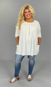 SQ-M (Style Up) Ivory Round Neck Pleated Top PLUS SIZE 1X 2X 3X