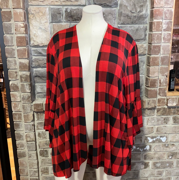 11-14 OT-A {Misplaced Love} Red Black Plaid Cardigan EXTENDED PLUS SIZE 4X 5X 6X