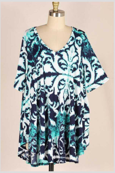 PSS-H {Ink Spots} Navy/Teal Tunic EXTENDED PLUS