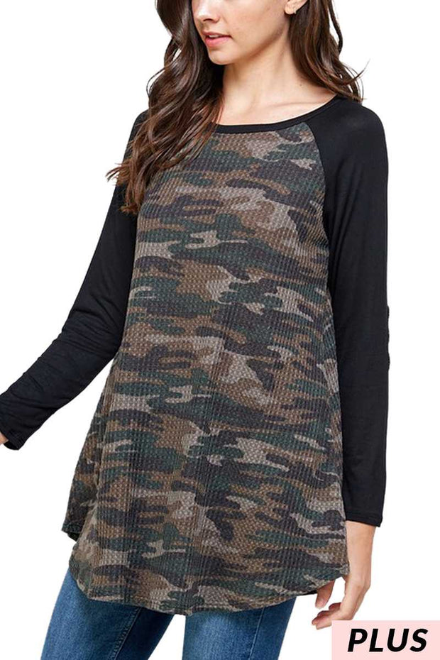 11-14 CP-F {Won't Back Down} Black With Camo Tunic PLUS SIZE XL 2X 3X