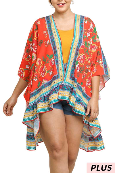 "OT-C{Waverly Park}""Umgee"" Tomato Red Floral Cardigan PLUS SIZE XL/1X 1X/2X"