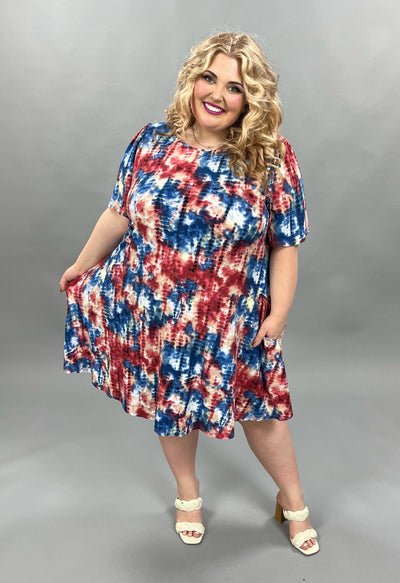 62 PSS-D {Moonlight Dance} Buttersoft Tie-Dye Dress EXTENDED PLUS SIZE 3X 4X 5X