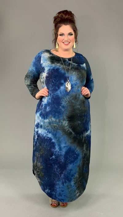 LD-B {Steal All The Attention} BLUE Tie-Dye Maxi Dress Extended Plus