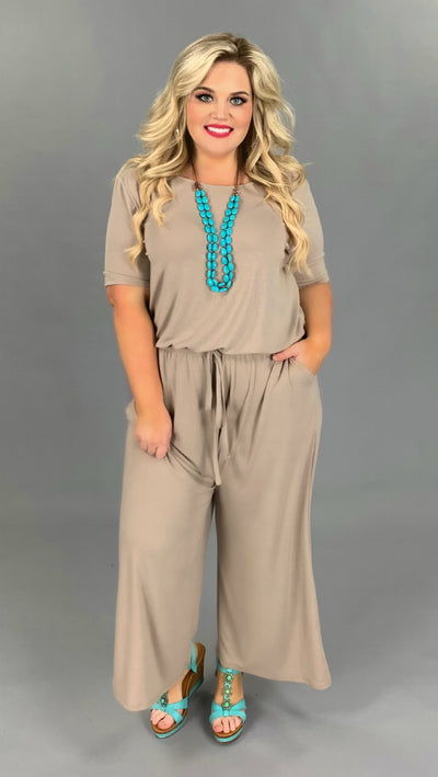 RP-M {Jump The Broom} Khaki Jumpsuit with Tie Neck/Elastic Waist PLUS SIZE 1X 2X 3X SALE!!