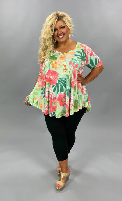 PSS-B {Tropical Island} Mint/Pink Tropical Flower Print Tunic EXTENDED PLUS SIZE 3X 4X 5X