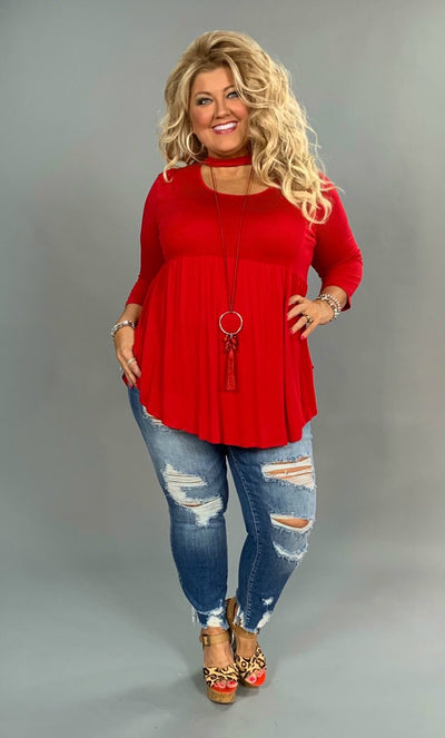 "SQ-H ""BELLAMIE"" Red Top with Mock Neck Detail SALE!!"