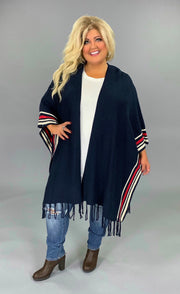 "OT-N {Just To See You Smile} ""UMGEE"" Navy/Red Poncho SALE!"