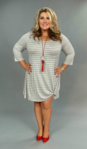 CP-E/Q {Simple Beauty} Extended Plus Gray Striped Dress