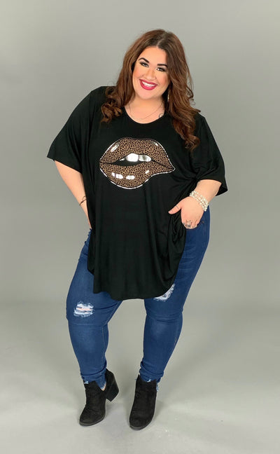 GT-X {Oops My Bad} Black Soft Tee with Leopard Print Lips EXTENDED PLUS SIZE
