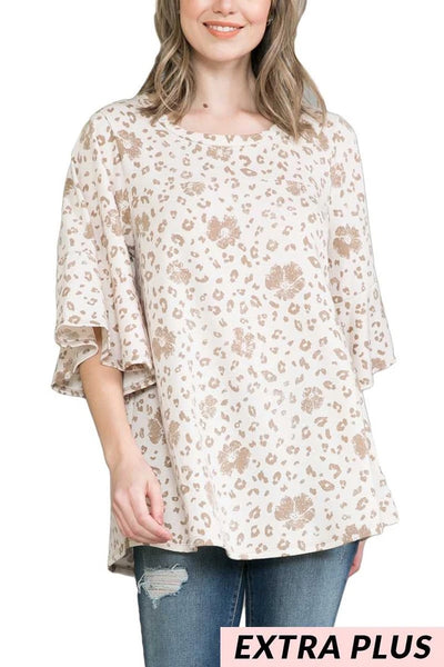 64 PQ-M {Southern Hospitality} Animal Print Top EXTENDED PLUS SIZE 4X 5X 6X