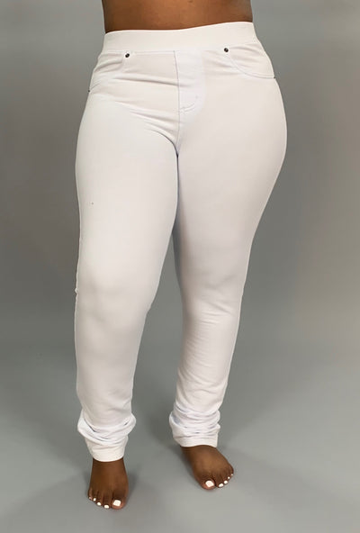 "BT-G ""Poplooks"" WHITE Jeggings with Pockets SALE!"