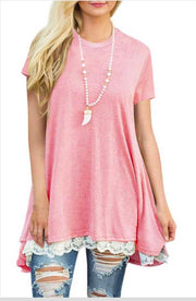 SD-P {Faded Rose} Heather Red Tunic with White Lace Hem SALE!!