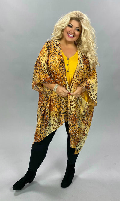 OT-Z {Basic Instincts} Gold/Rust Sheer Leopard Cardigan PLUS SIZE 1X 2X 3X (FLASH SALE)
