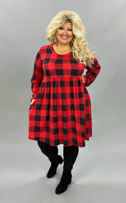 11-14 PLS-B {I Told You So} Red Black Babydoll Dress PLUS SIZE XL 2X 3X