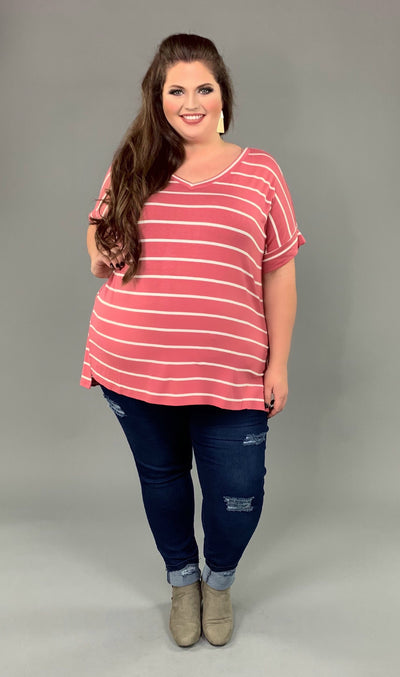 PSS-Z {9 to 5 Girl} ROSE Striped Hi-Lo Top with V-Neck PLUS SIZE