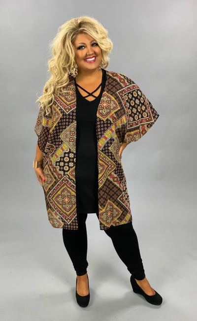 OT-C {Not By Chance} Black, Mustard Multi Print Sheer Cardigan PLUS SIZE 1X 2X 3X