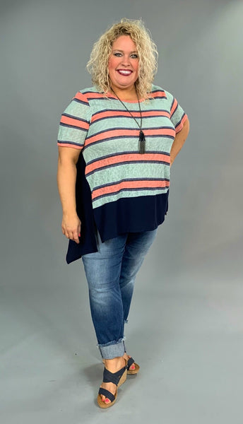 CP-Q {Let's Be Friends} Navy/Coral Striped Asymmetrical Tunic