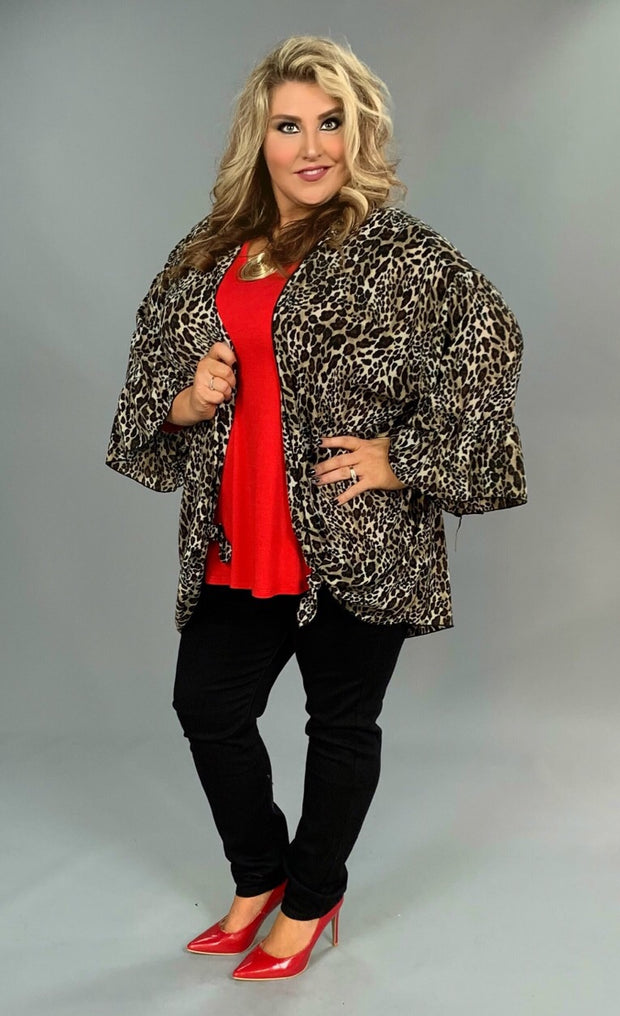 OT-E {Exciting Thought} Leopard Print Cardigan with Ruffle Sleeves Extended Plus