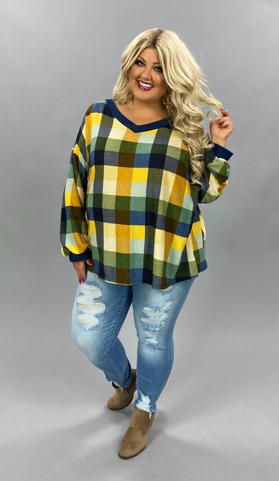10-06 CP-B {Kiss And Tell} Navy Yellow Green Plaid Top PLUS SIZE XL 2X 3X