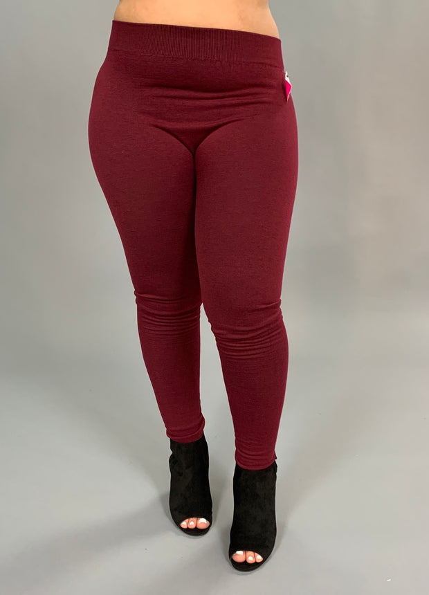 "BT/C- ""ROSIO"" Burgundy Soft French-Terry Leggings PLUS SIZE"