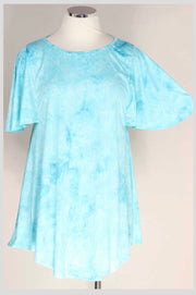 PSS-Z {Breath Of Fresh Air} Blue Textured Watercolor Flutter Sleeve Tunic EXTENDED PLUS SIZE 3X 4X 5X