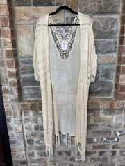 OT-D {Toes In The Sand} Beige Cardigan With Fringe Detail & Back Lace Insert PLUS SIZE 1X 2X 3X