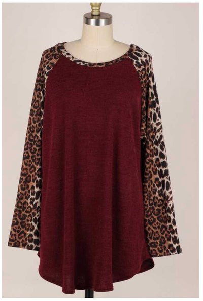 CP-Z {Finally Found You} Burgundy Leopard Sleeve Knit Top EXTENDED PLUS SIZE 3X 4X 5X
