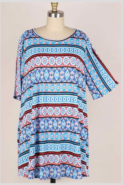 65 PSS-O{True Dedication} Blue Multi Print Tunic EXTENDED PLUS  SIZE 3X 4X 5X