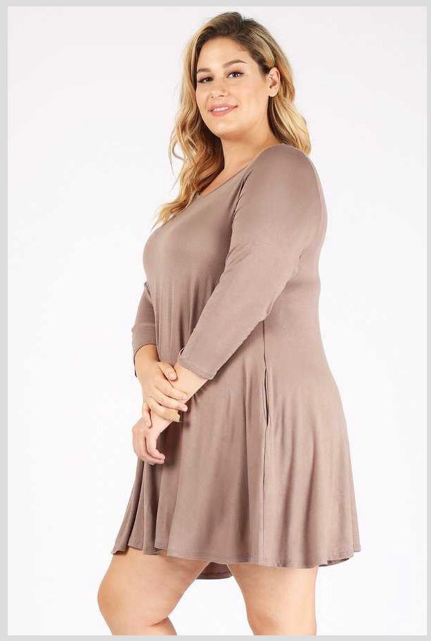 SQ-N ( Simple Comforts) Solid Taupe Dress With Pockets EXTENDED PLUS SIZE 3X 4X 5X