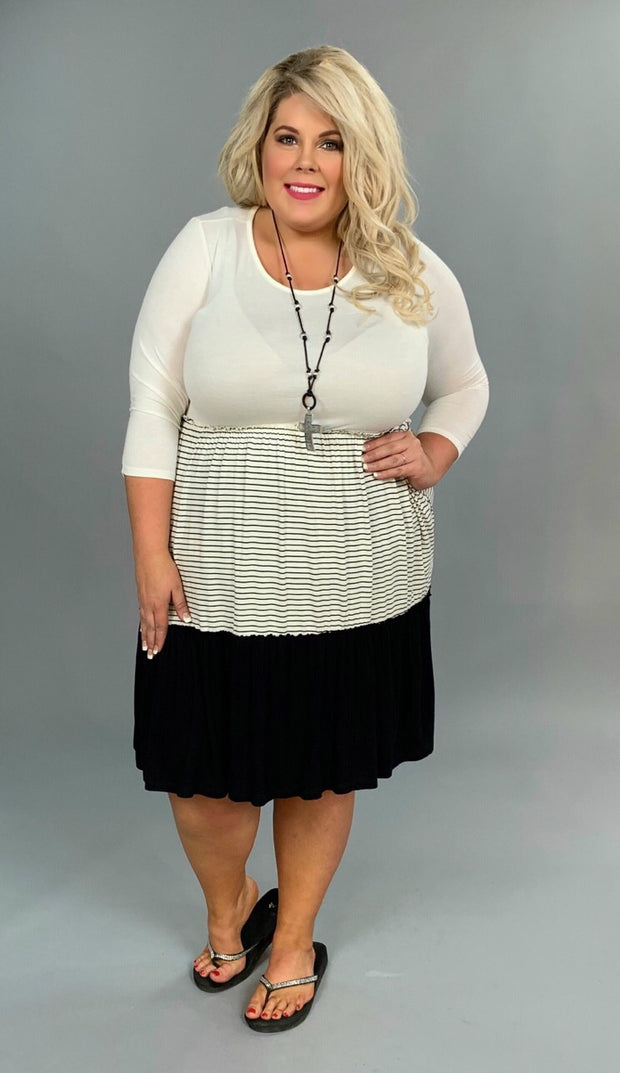 CP-K {Class Act} Black 3/4 Sleeve Dress with Contrast Layers   PLUS SIZE 1X 2X 3X SALE!!