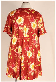 49 PSS-E {New Found Ambition} Rust Dress With Yellow Flowers EXTENDED PLUS SIZE 3X 4X 5X
