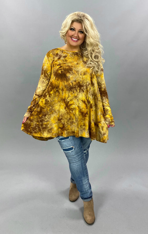 10-02 PLS-X {Sunset Talks} Mustard Mocha Tie Dye Tunic EXTENDED PLUS SIZE 3X 4X 5X