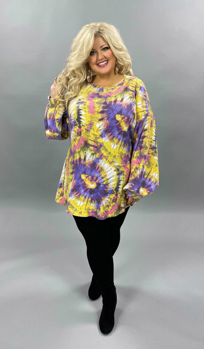 34 PLS-O {Bright Eyes} Bright Yellow & Purple Tie Dye Top EXTENDED PLUS SIZE 3X 4X 5X