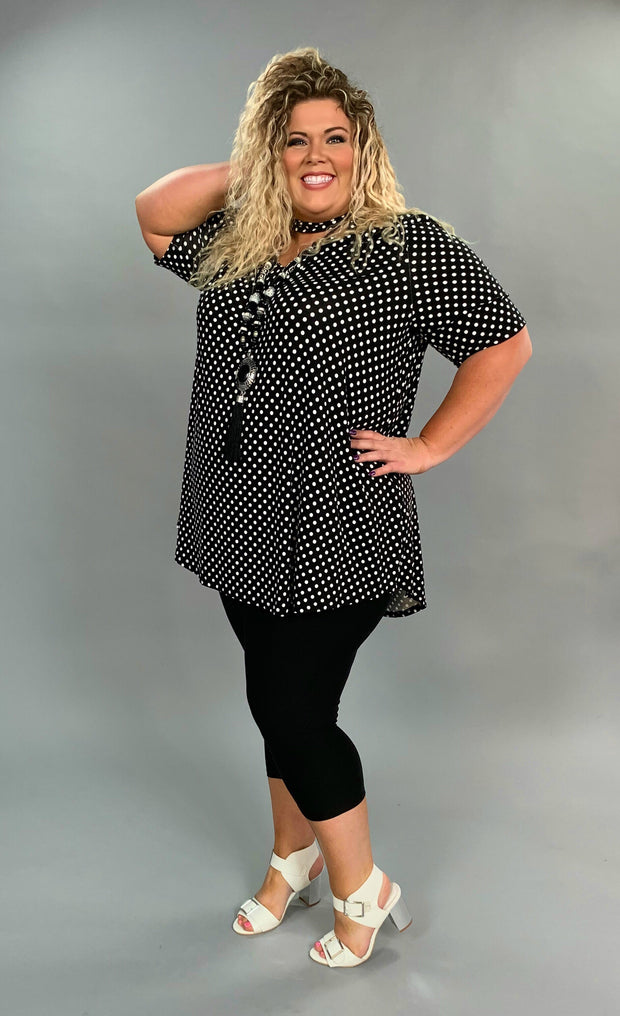 PSS-B {Smooth Operator} Black Polka-Dot Mock Neck Tunic Extended Plus