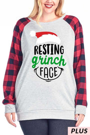 "32 GT-A {Grinch Face} SALE!! Grey Red Plaid ""Resting Grinch Face"" Top PLUS SIZE XL 2X 3X"
