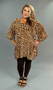 PQ-G {Extended Plus} Cheetah Print with Wide Sleeves Extended Plus Tunic