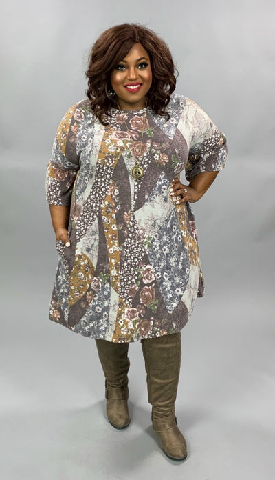 PQ-M {Change My World} Brown  Mustard Floral Knit Dress EXTENDED PLUS SIZE 4X 5X 6X