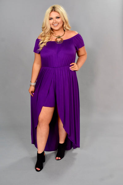 RP-C {Strolls On The Beach} Purple Shorts-Dress Romper