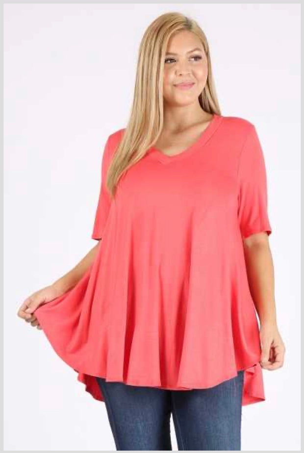 SSS-X {Simple Statement} Coral VNeck Round Hem Tunic EXTENDED PLUS SIZE 3X 4X 5X SALE!!