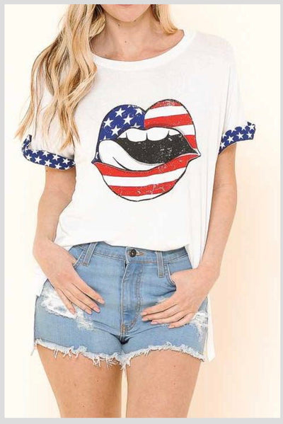 GT-D {Gimme Shelter} Patriotic Kiss Graphic Tee PLUS SIZE