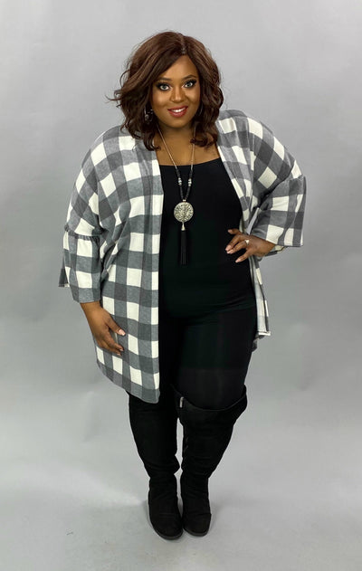 10-15 OT-M {Lucky One} Grey Plaid Cardigan EXTENDED PLUS SIZE 4X 5X 6X