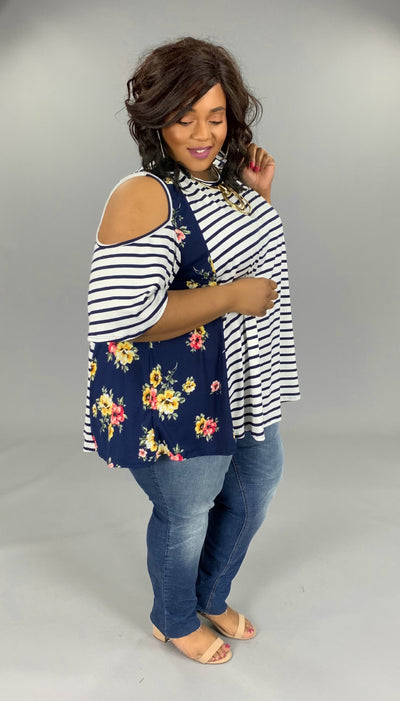OS-A {Make A Path} Navy/Ivory Striped Floral Open Shoulder Tunic