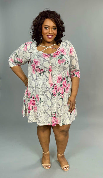 PQ-X {Come Join Me} Snakeskin Floral Print Criss-Cross Dress
