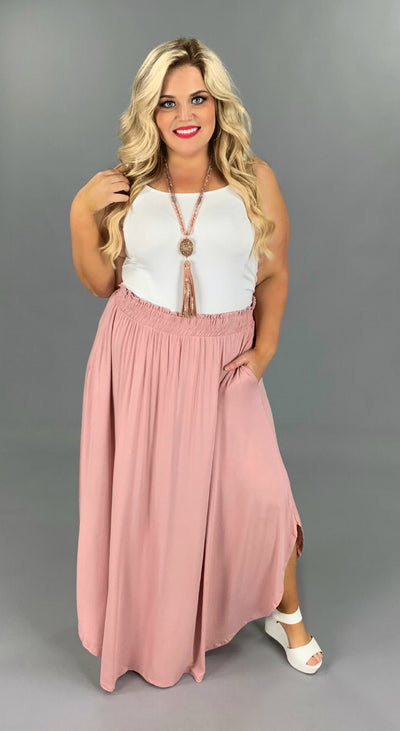 BT-F [Sweet Gypsy Rose} Dusty Rose Skirt with Uneven Rounded Hem PLUS SIZE 1X 2X 3X