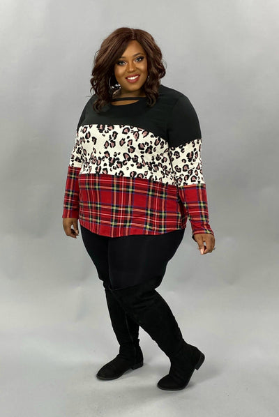 19 CP-T {Trust Myself}  SALE!! Black Leopard Plaid Tunic PLUS SIZE XL 2X 3X